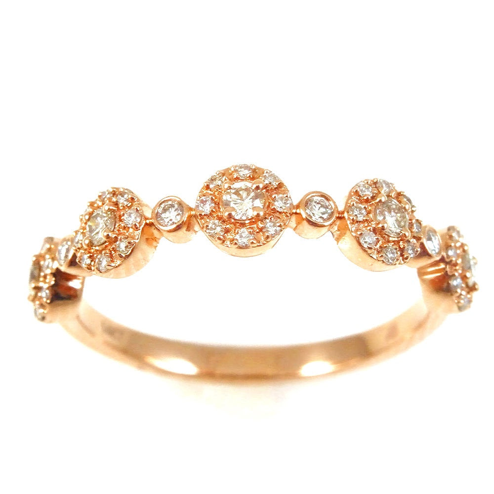 Five Petite Micro Set of Diamonds in a Halo Ring 14K Gold