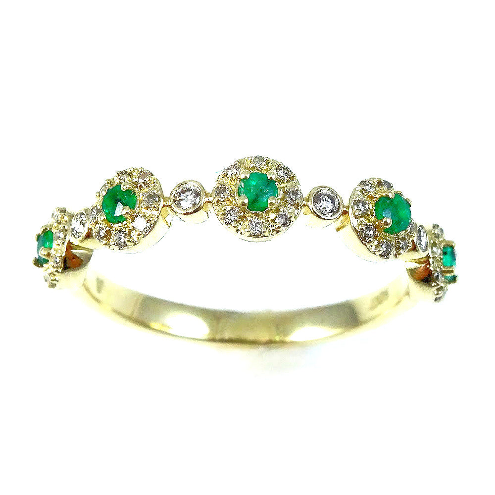 Five Petite Micro Set of Precious Gems in Diamond Halo Ring 14K Gold