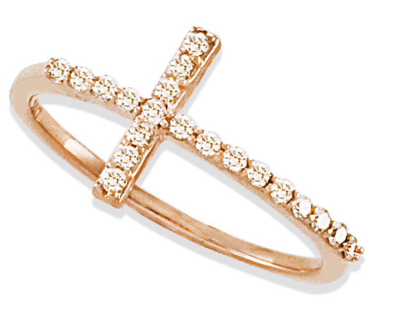 Miniature Diamond Cross in Solid 14K Rose Gold