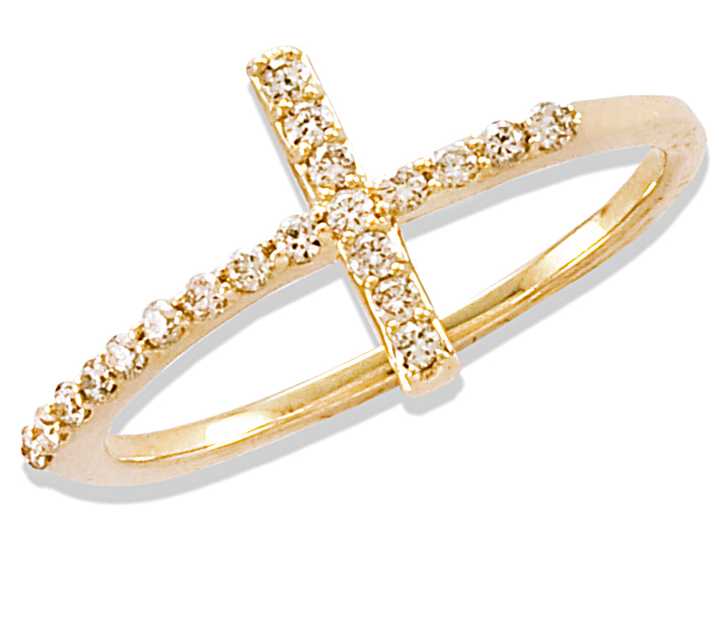 Diamond Cross Ring 14KY Gold