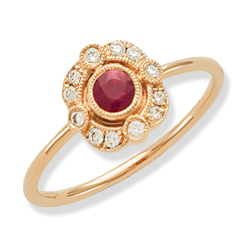 Red Ruby Antique Ring in Rose Gold
