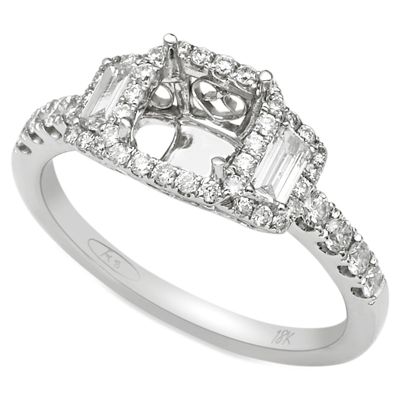 Trapezoid Diamond Setting in 18K White Gold