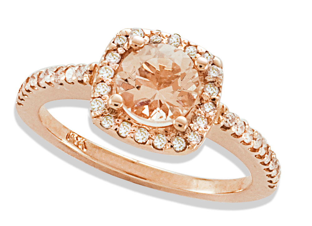 Round Rose Morganite and Diamond Engagement Ring