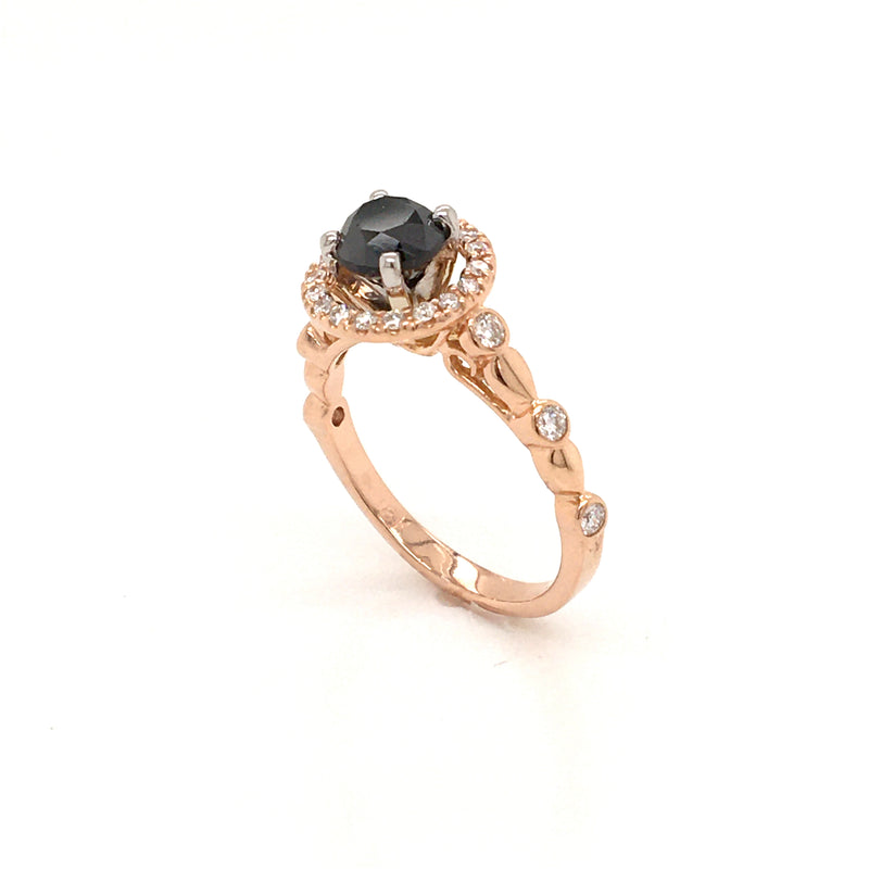Round Black Diamond 18 Karat Rose Gold Diamond Halo Semi-Mount Engagement Ring