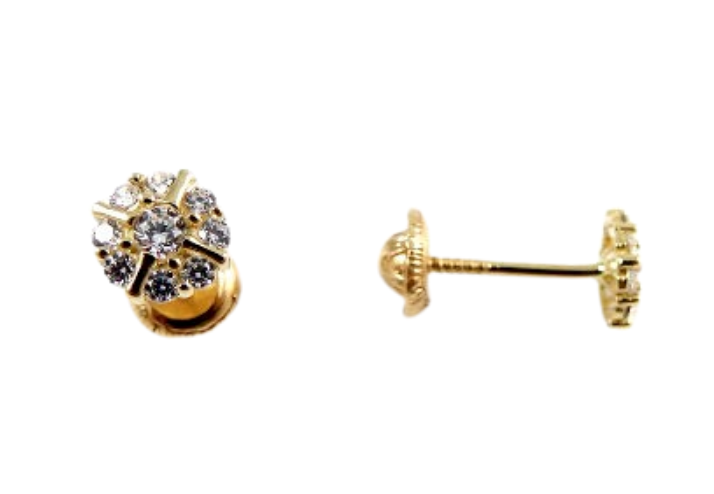 Cubic Zirconia Cluster Baby Earrings 14K Gold