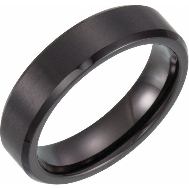 Men's Black PVD Tungsten 6 mm Beveled Edge Band with Satin Finish