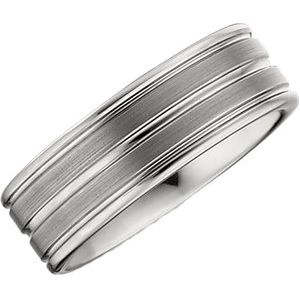 Men's Tungsten 8.3 mm Grooved Satin & Polished Band