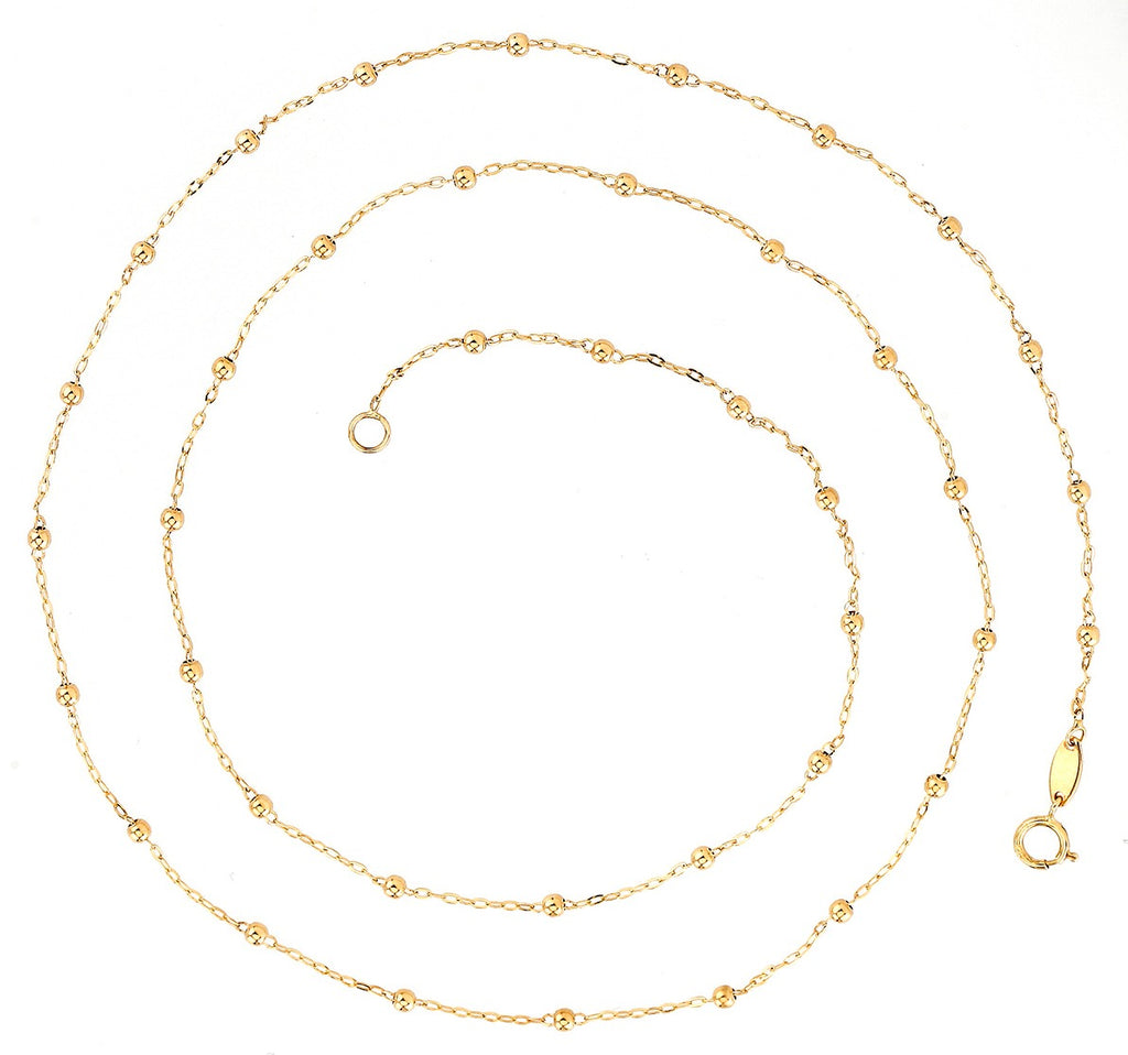 Beaded Necklace 14K Gold