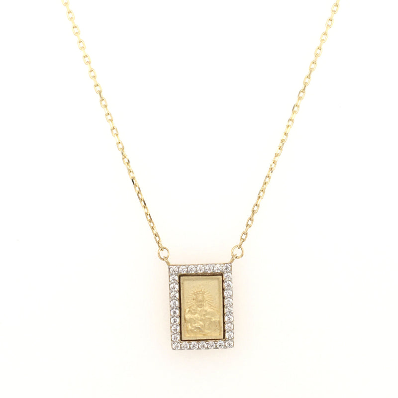 Small Scapular Medal with Cubic Zirconia Frame Necklace 14K Yellow Gold