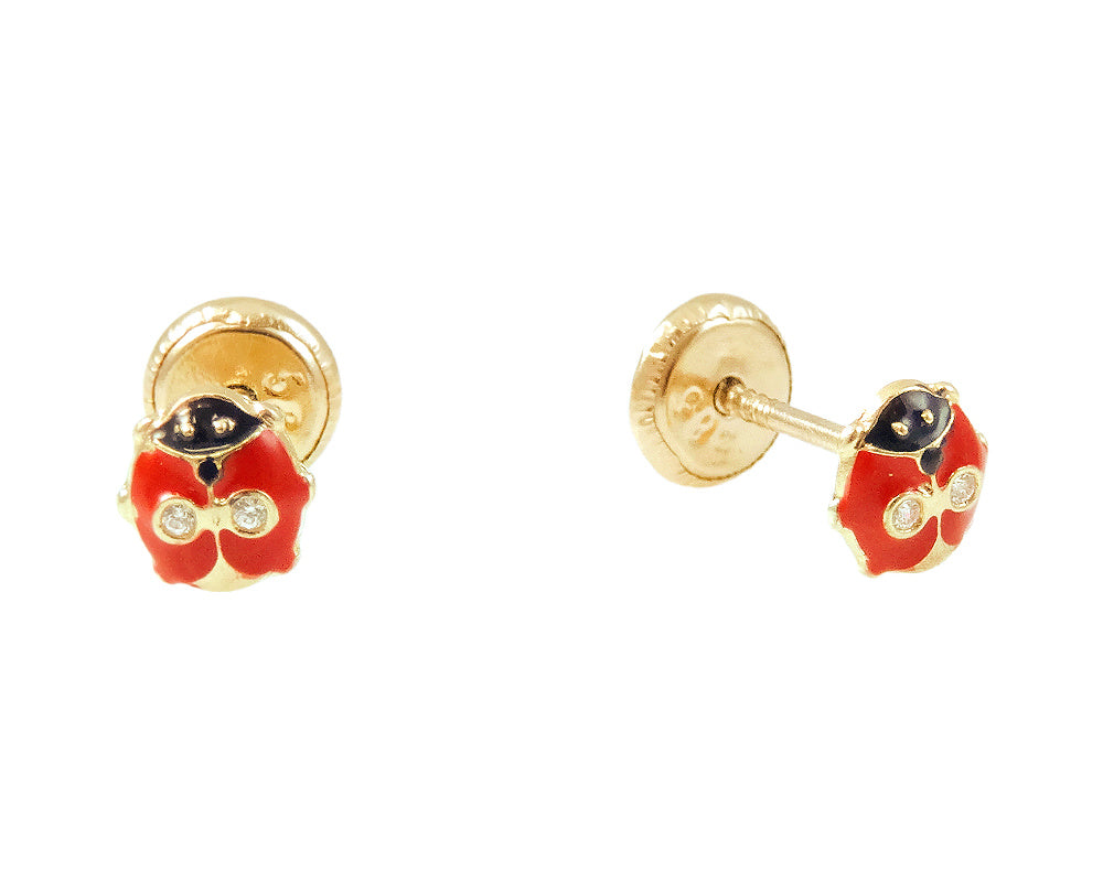 Miniature Red Lady Bug Earrings 14KY Gold