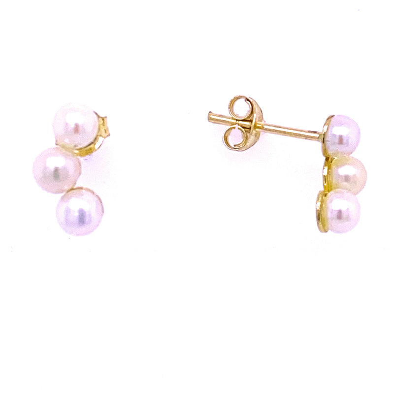 Crescent Pearl Earrings 14K Yellow Gold