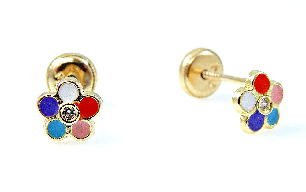 Multi Colored Enamel Flower Earrings 14KY Gold