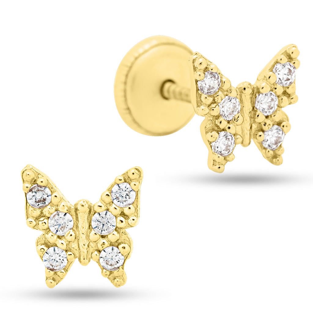Butterfly Cubic Zirconia Baby Earrings 14K Yellow Gold