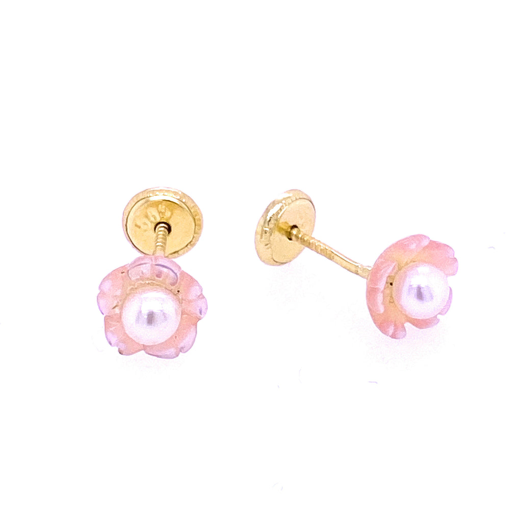 Rosy Flower Mother of Pearl & 3mm Pearl Baby Earrings 14K Yellow Gold (Only One Left!)