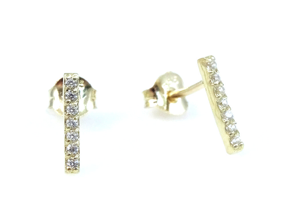 Thin Bar CZ Embellished Earrings 14KY Gold