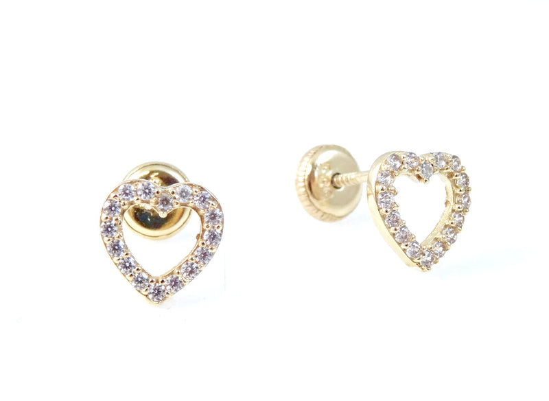 Open Heart CZ Embellished Earrings 14KY Gold