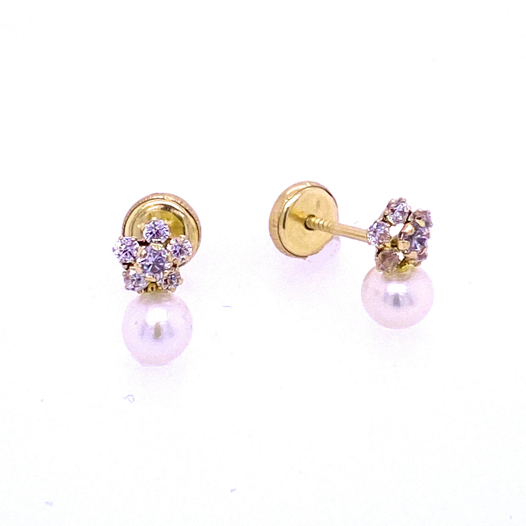 Daisy Cubic Zirconia Flower and Pearl Drop Earrings 14K Yellow Gold