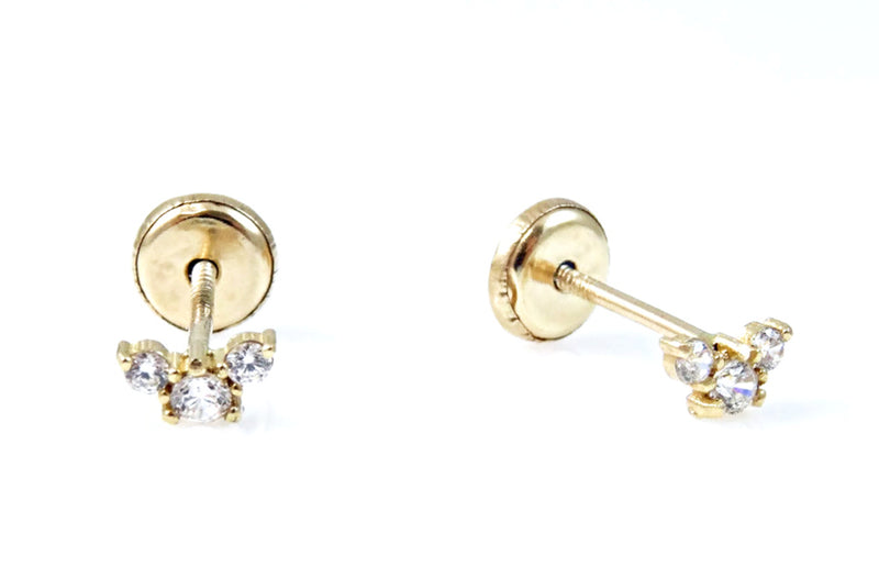 Three Stone Cubic Zirconia Earrings 14KY Gold