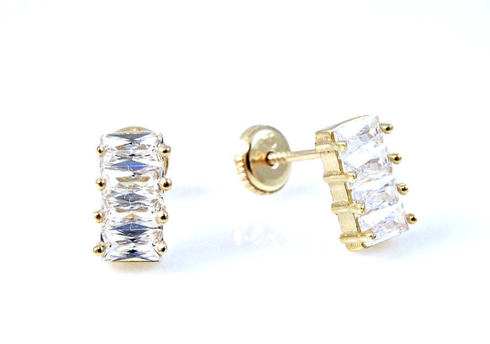 Baguette Embellished CZ Earrings 14KY Gold