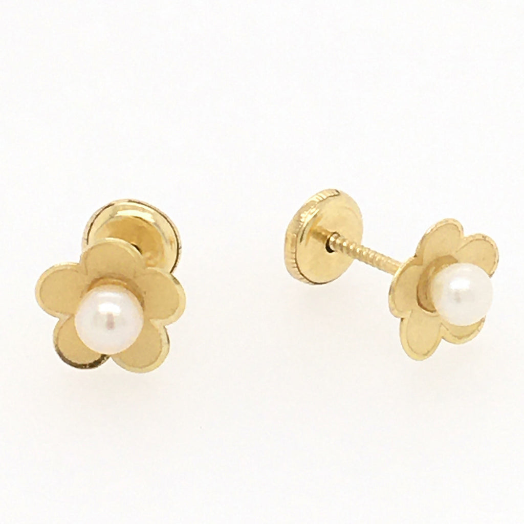 Pearl Turquoise or Coral Flower Baby Earring in 14KY Gold