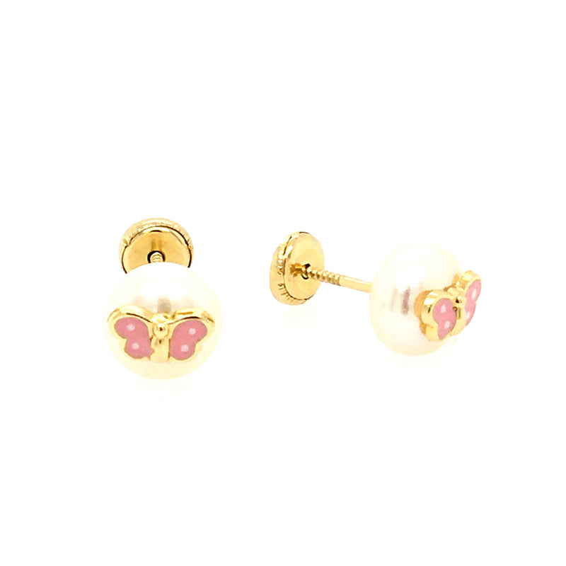 Flower Mother of Pearl Earring in 14K Gold
