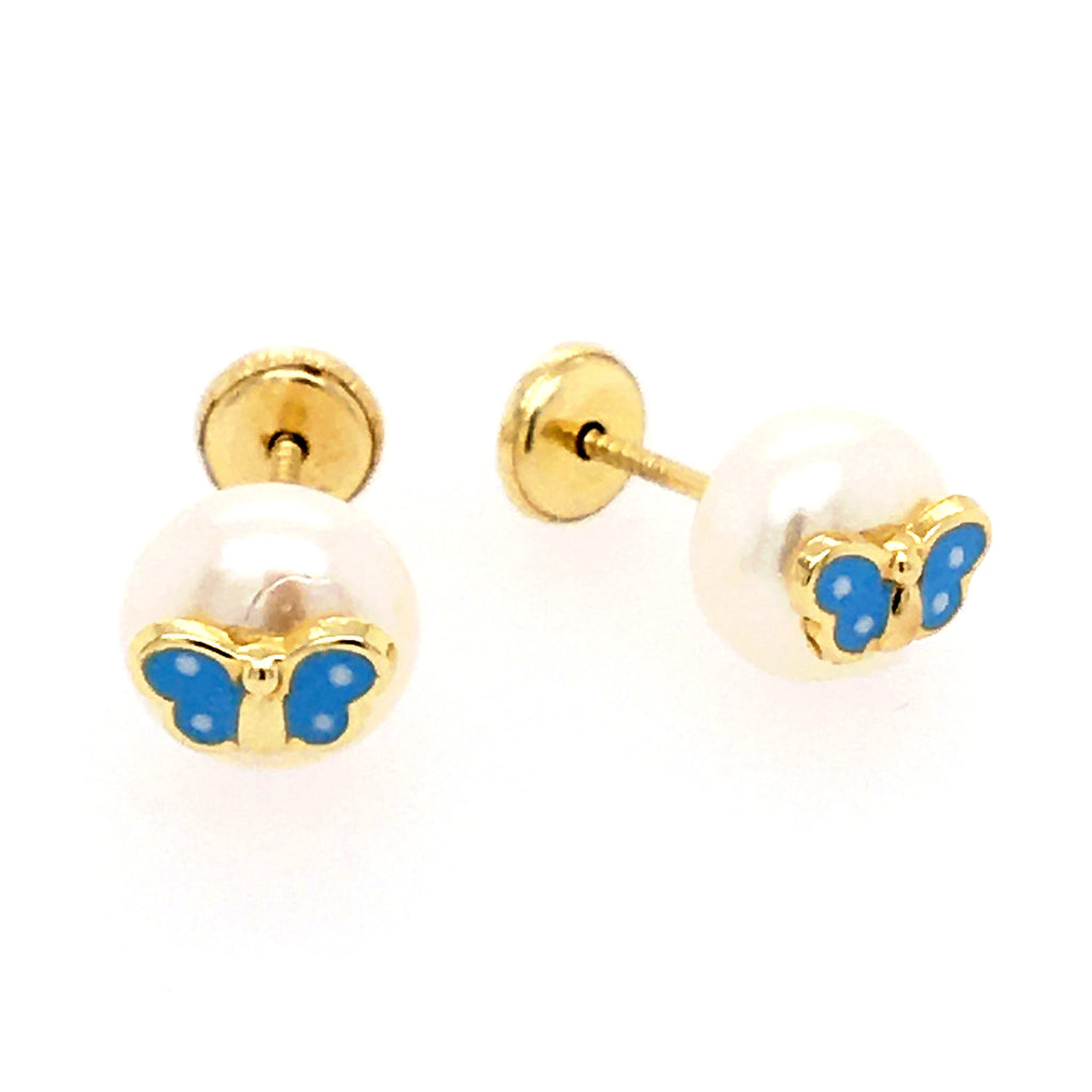 Enameled Butterfly on Pearl Stud Baby Earrings 14K Yellow Gold