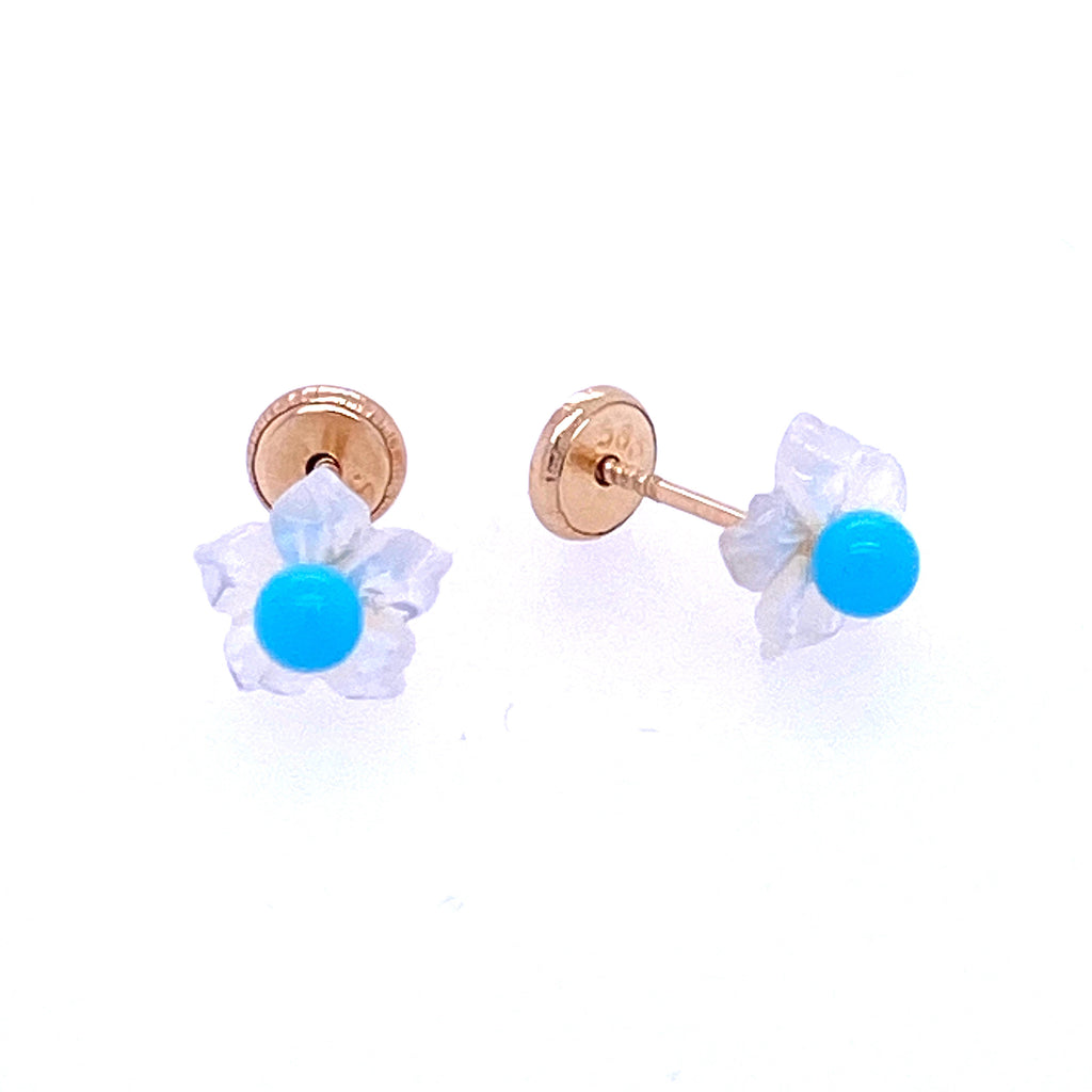 Flower Mother Of Pearl and Turquoise Earrings 14K Yellow Gold