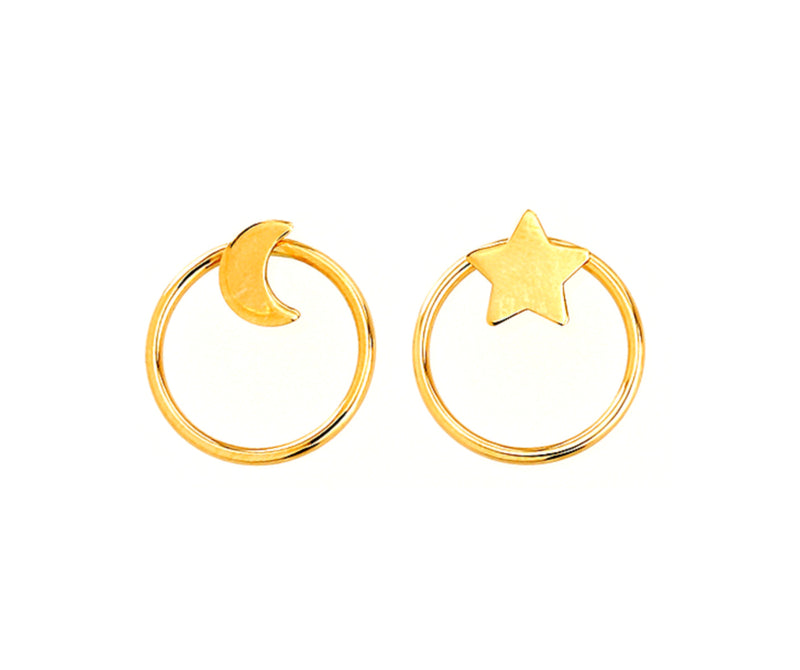 Mis-Match Moon and Star Earrings 14KY Gold
