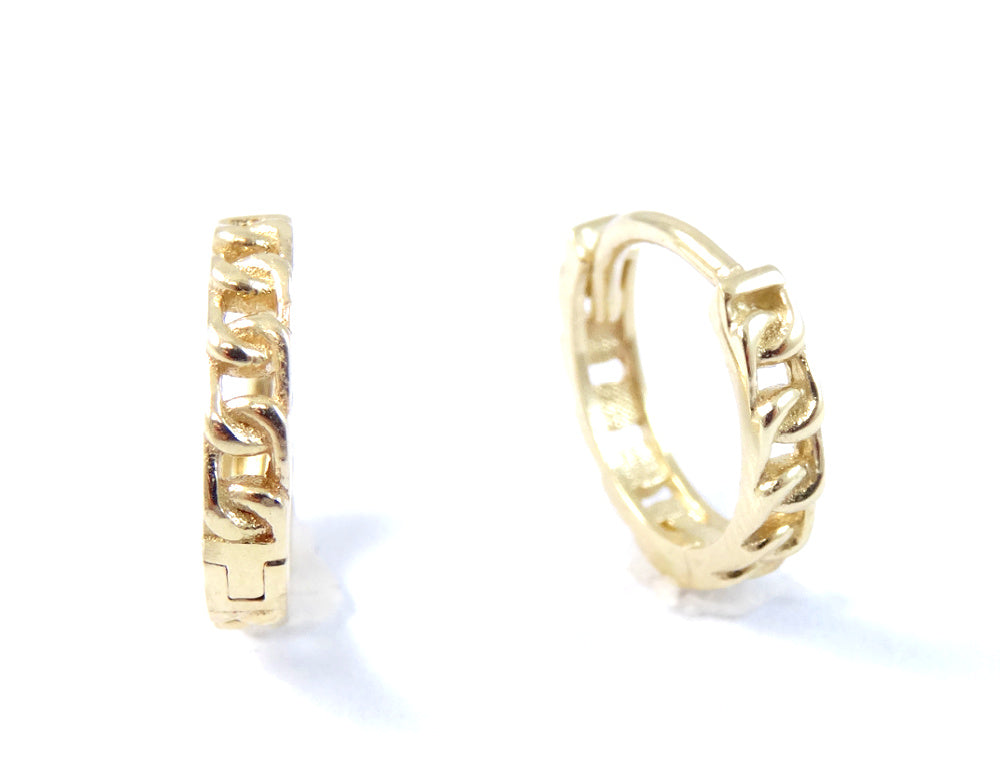 Miniature Chain Link Huggie Hoop Earrings 14K Yellow Gold