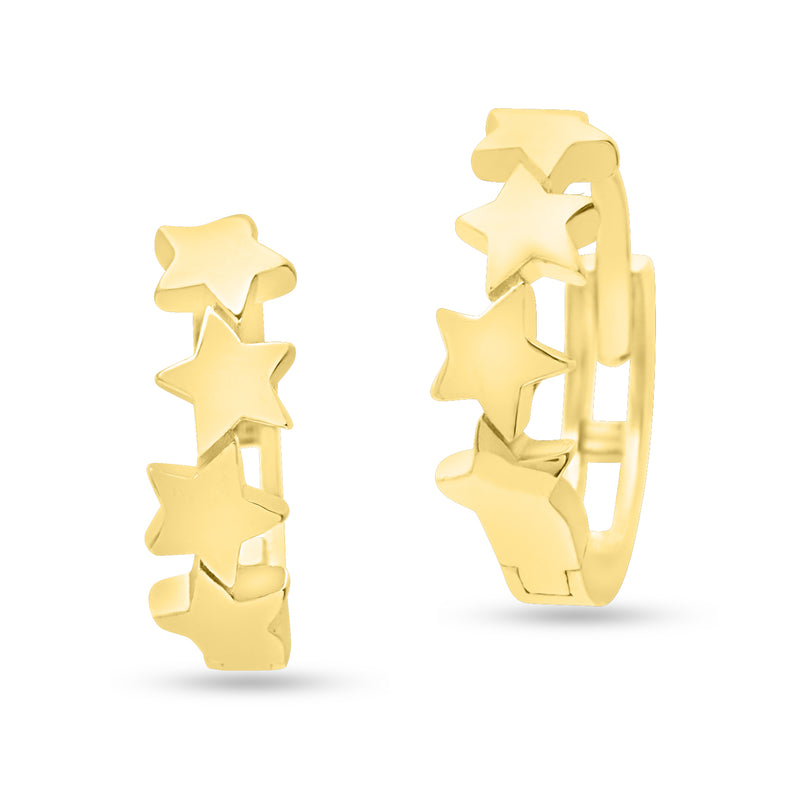 Small Star Studded Huggie Hoop Earrings 14K Yellow Gold
