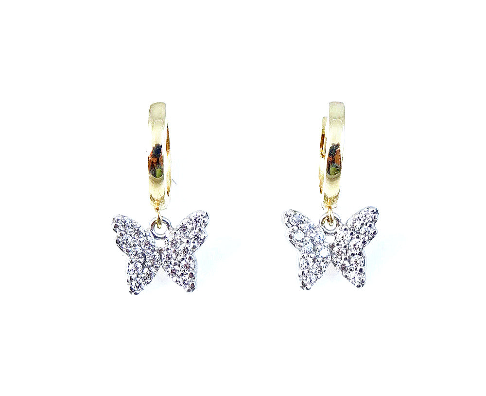 Huggie Earrings with Dangling Butterflies 14K/925