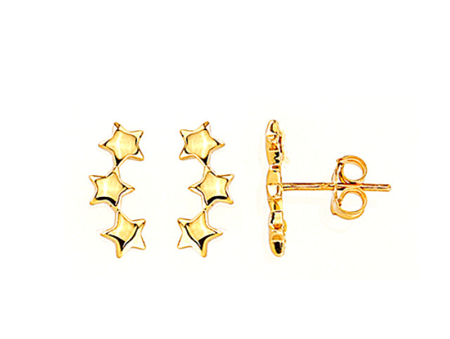 Three Star Crawler Earring 14KY Gold