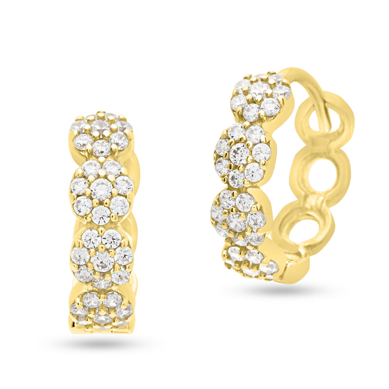 Cubic Zirconia Circle Clusters Huggie Hoop Earrings 14K Yellow Gold