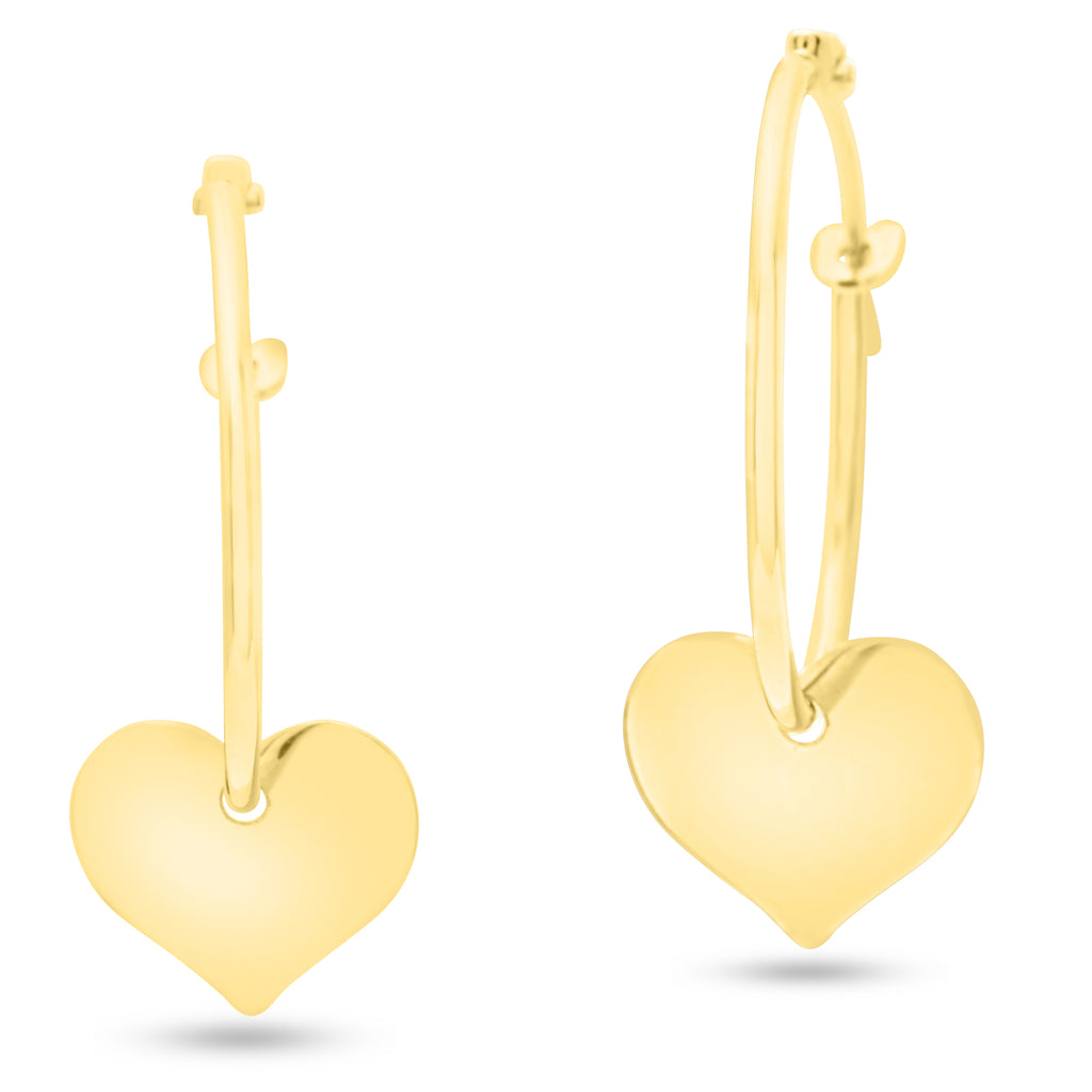 Hoop Earring with Hanging Heart Charm