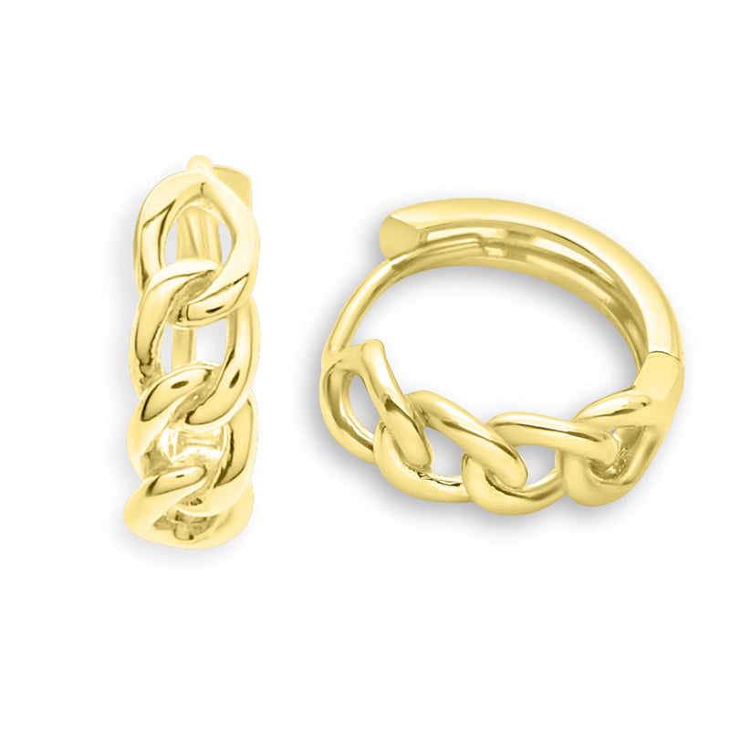 Chain Huggie Earrings 14K Gold