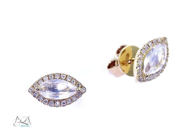 Moonstone and Diamond Earrings in 14K Yellow Gold