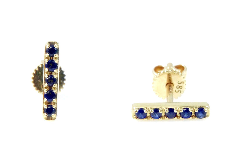 Precious Gems Bar Earrings Crafted in 14KY Gold (Only One of Each Left Ruby & Sapphire!)
