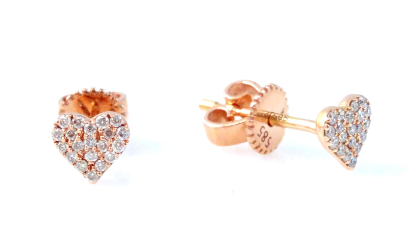 Diamond Heart Stud Earrings 14 Karat Gold