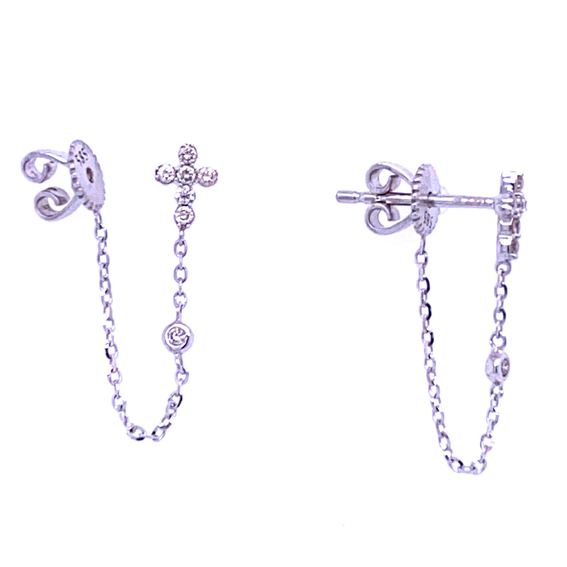 Miniature Diamond Cross Chain Dangle Earrings 14K Gold