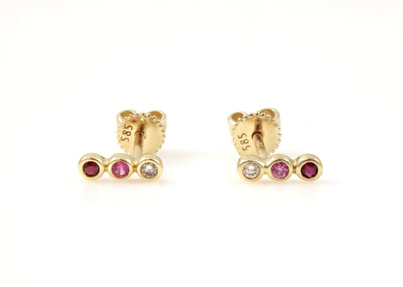 Three Stone Diamond and Precious Gem Earring 14K Gold