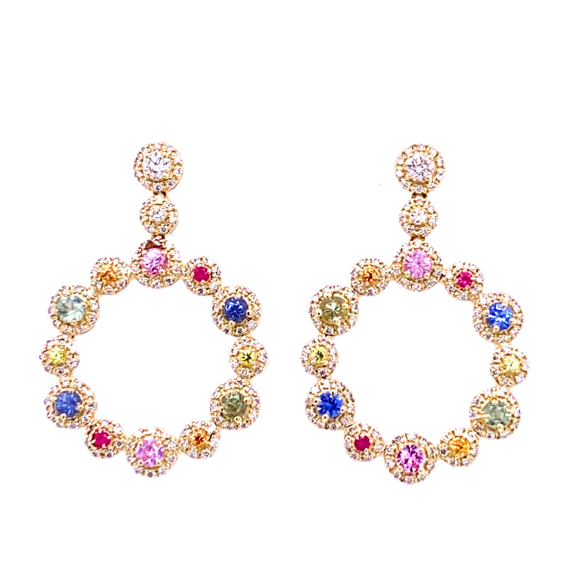 Dangling Circle Multi-Colored Sapphire & Diamond Earrings 14K Yellow Gold