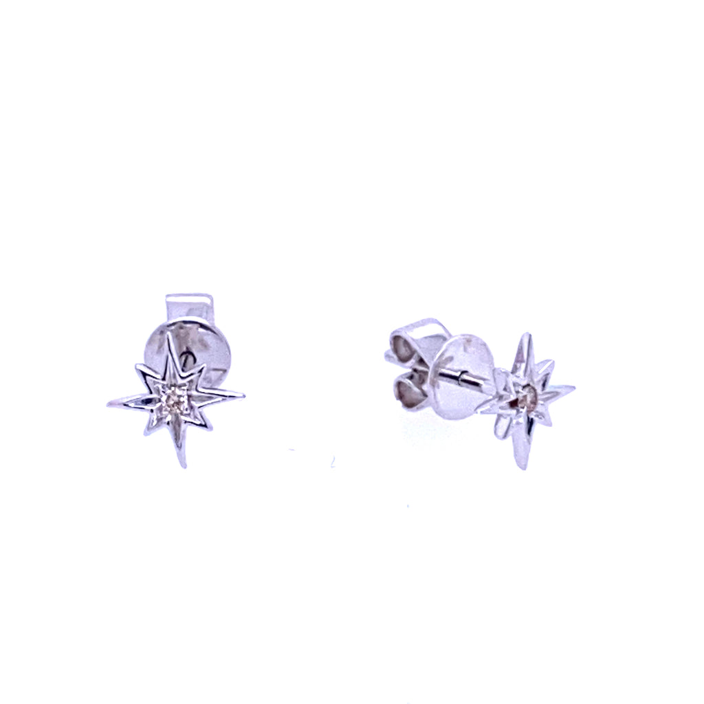 Diamond Starburst Earrings 14K Gold (Only available in white gold)