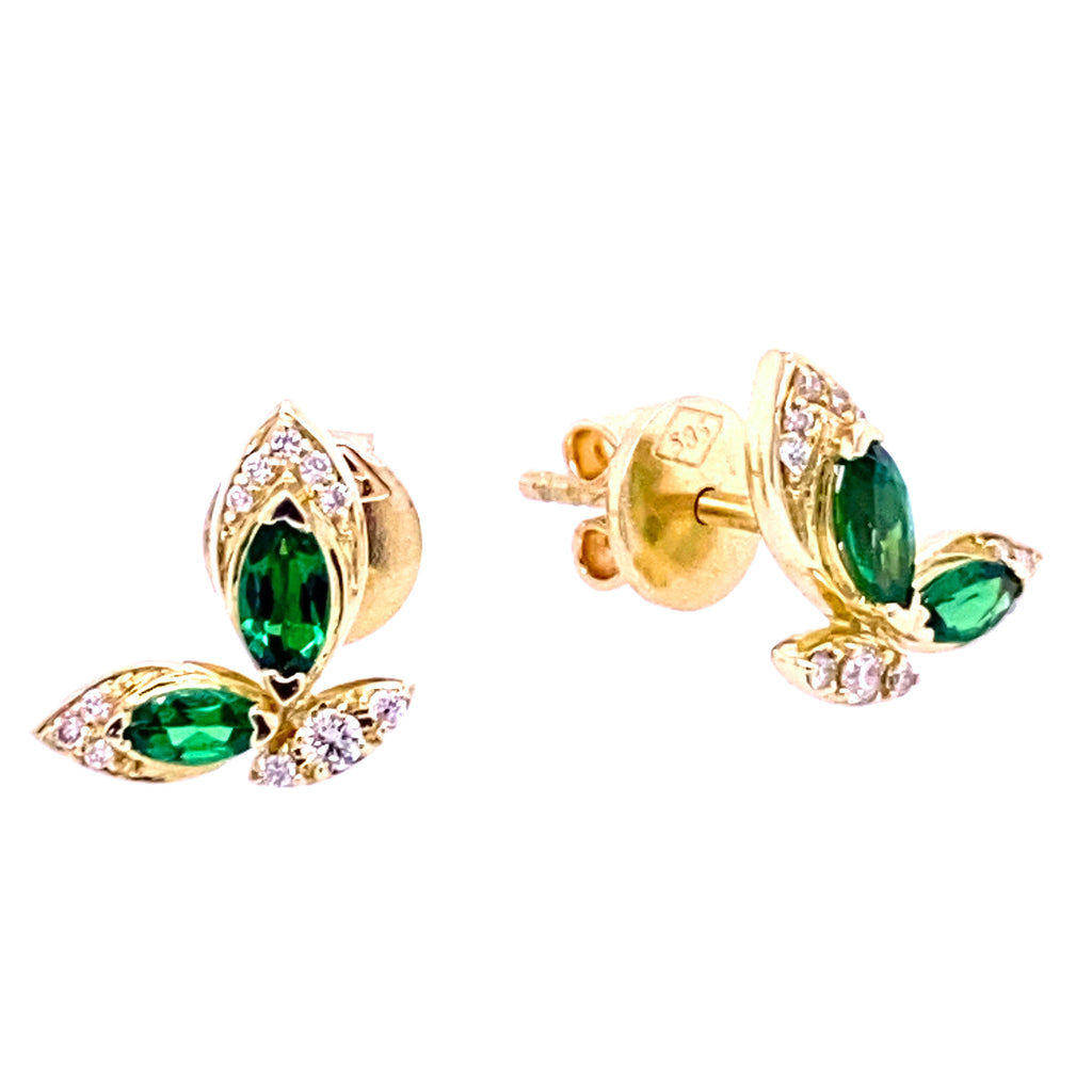 Color Stone Marquise & Diamond Flying Butterfly Post Earrings 14K Yellow Gold