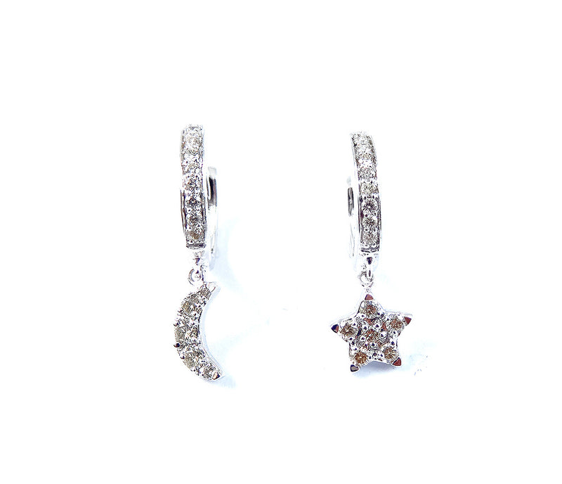 Mismatch Dangling Diamond Moon & Star Huggie Hoop Earrings 14K Gold (Only One Left of White & Yellow Gold)