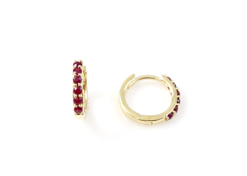 Huggie Earring with Precious Gems 14KY Gold