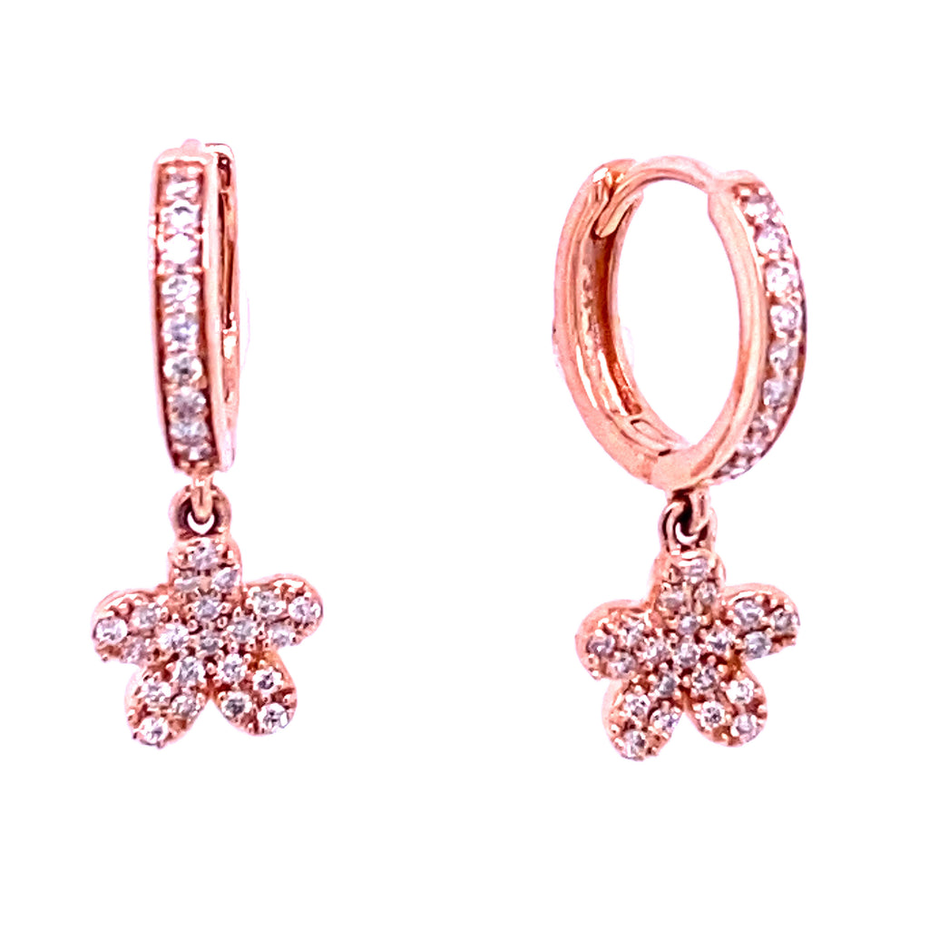 Dangling Diamond Pave Flower Huggie Hoop Earrings 14K Gold