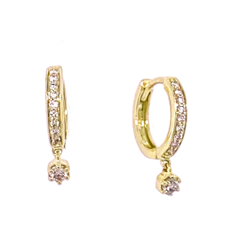Dangling Miniature Diamond Stud Huggie Hoop Earrings 14K Gold