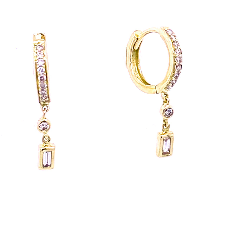Dangling Diamond Baguette Huggie Hoop Earrings 14K Gold