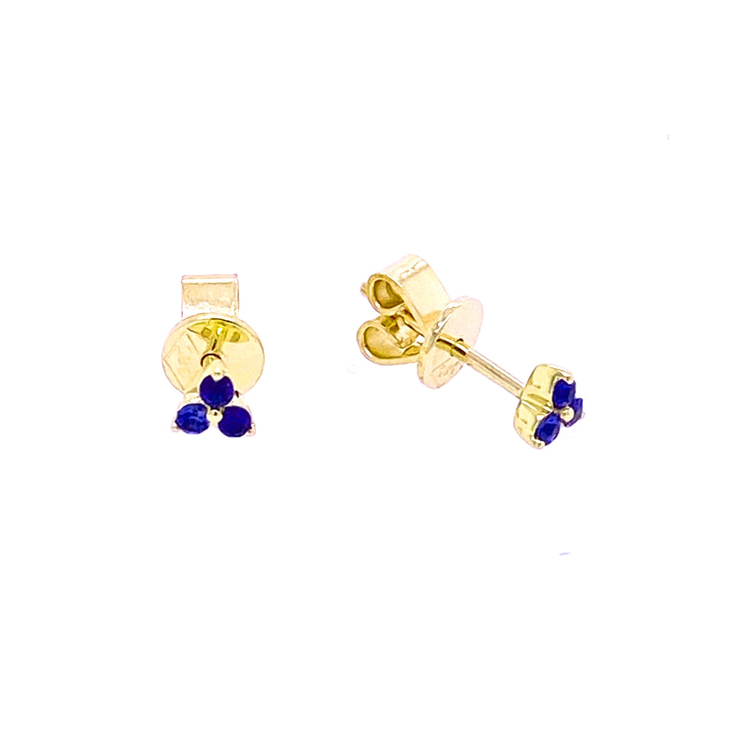 Color Stone Trio Earrings 14KY Gold