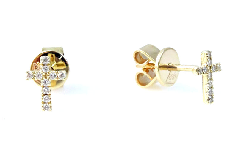Diamond Cross Stud Earrings 14 Karat Gold
